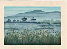 Masao Ido Woodblock Temple and Reeds