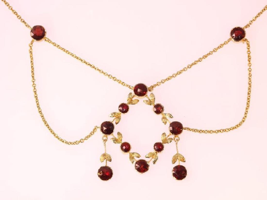 Antique 14K Yellow Gold Natural Garnet Necklace