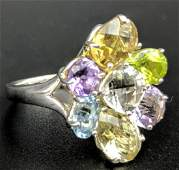 Sterling Silver Multi Colored Gemstone Ring