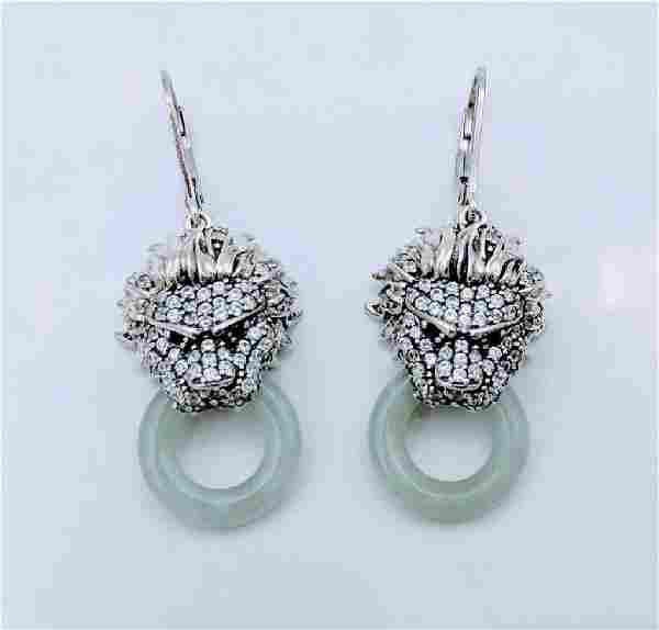 Sterling Silver Jade CZ Figural Dragon Earrings