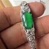 Antique 18K White Gold GIA Jadeite Bracelet