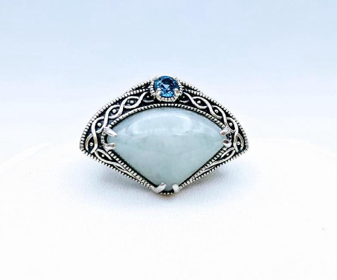Sterling Silver Jade Aquamarine Ring, .25ct