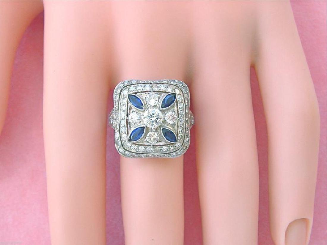 Art Deco Platinum Diamond Sapphire Ring, 1.80ctw