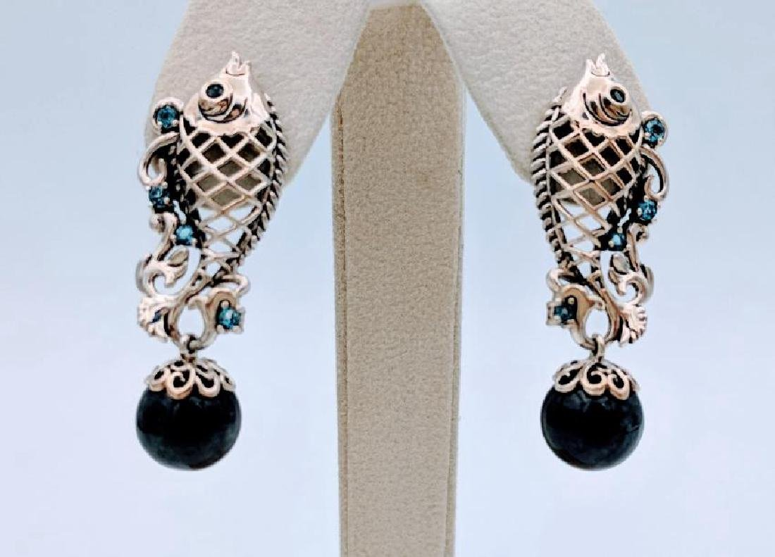 Sterling Silver Nuumite Aquamarine Fish Earrings