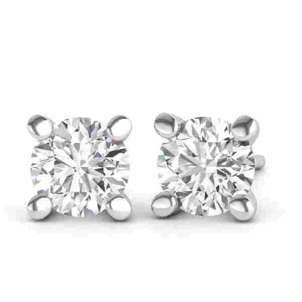 18K White Gold Diamond Stud Earrings, 0.53ct.