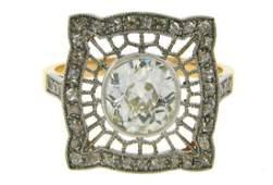 Vintage Edwardian Revival Platinum Diamond Ring, 1.92ct