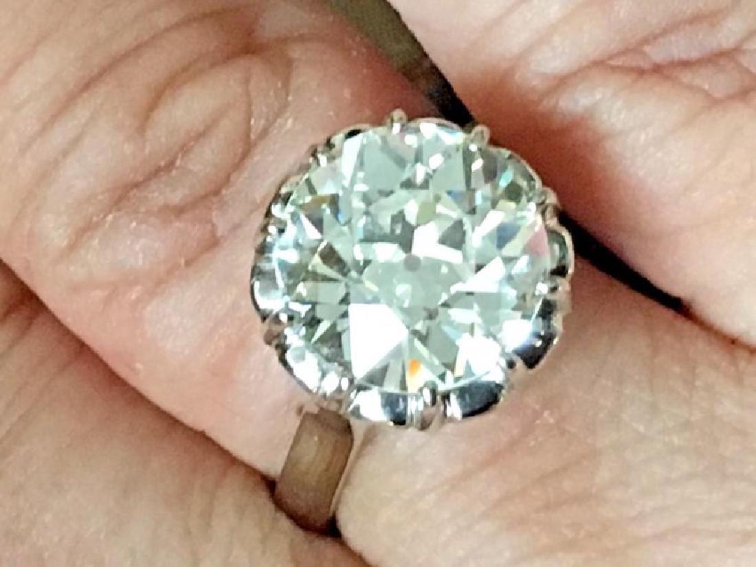 Antique Platinum GIA Diamond Engagement Ring, 5.8ct