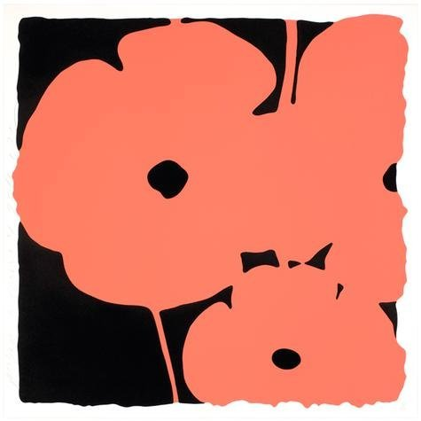 Donald Sultan Signed Silkscreen Poppies Coral