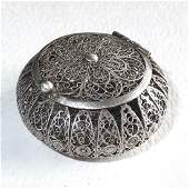 Sterling Silver Filigree Round Hinged Box