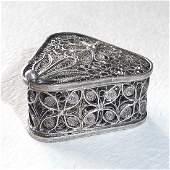 Sterling Silver Filigree Triangular Hinged Box