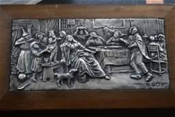 Antique Dutch Silver Plate Wood Box, 17th Century