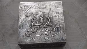 Antique German 800 Silver Jewelry Box, 19th Century