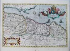Hondius: Antique Map of Edinburgh, Scotland, 1638