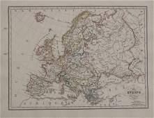 Malte-Brun: Antique Map of Europe in 1829