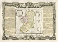 Desnos / de la Tour: Antique Map of Ireland, 1771