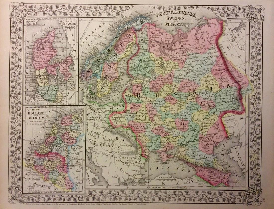 Mitchell: Antique Map of Russia in Europe