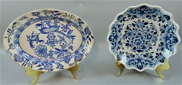 19th & 20th Century Delft Plate & Bowl - Pair