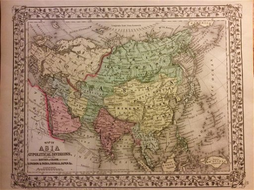 Mitchell Antique Map Of Asia 1869 Nov 28 2017 Jasper52 In Ny - Us-map-1869