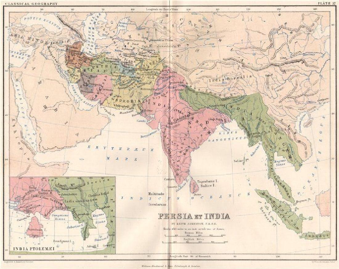 Johnston: Antique Map of Ancient Persia & India, 1855