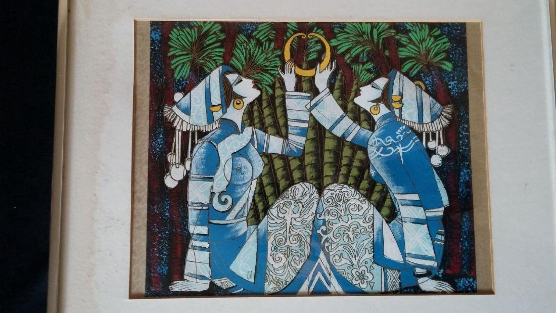Yunnan School Serigraph Two Women Holding Gold Ring