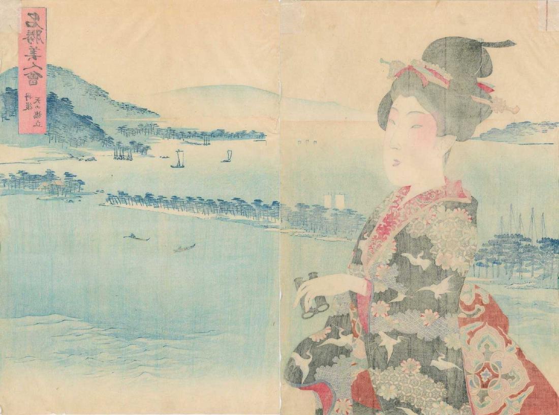 Chikanobu Toyohara Woodblock Beauty Binoculars Diptych - 4