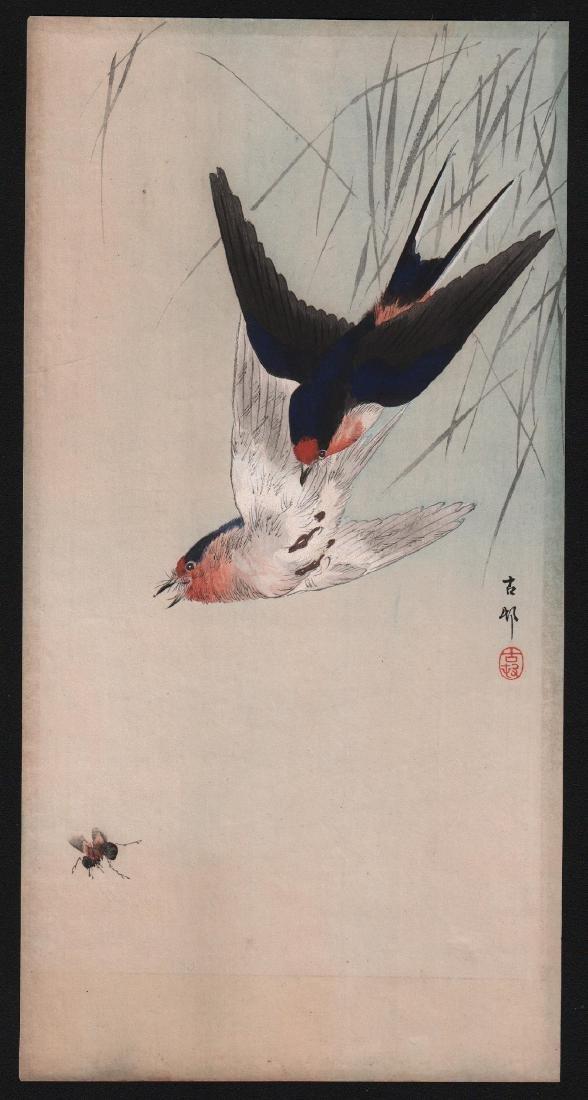 Ohara Koson Woodblock Birds & Bumble Bee