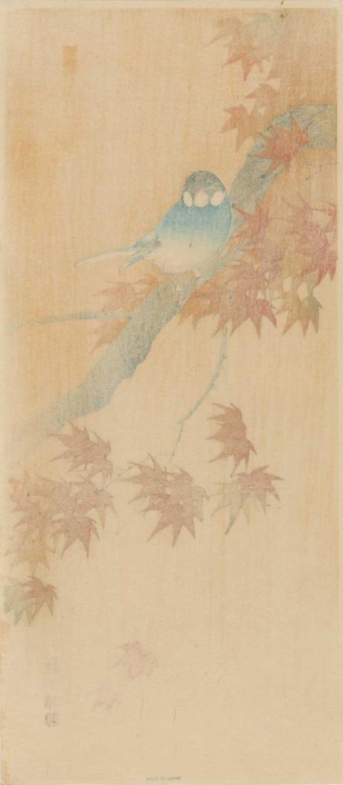 Sozan Ito Woodblock Java Finch on a Maple Branch - 3