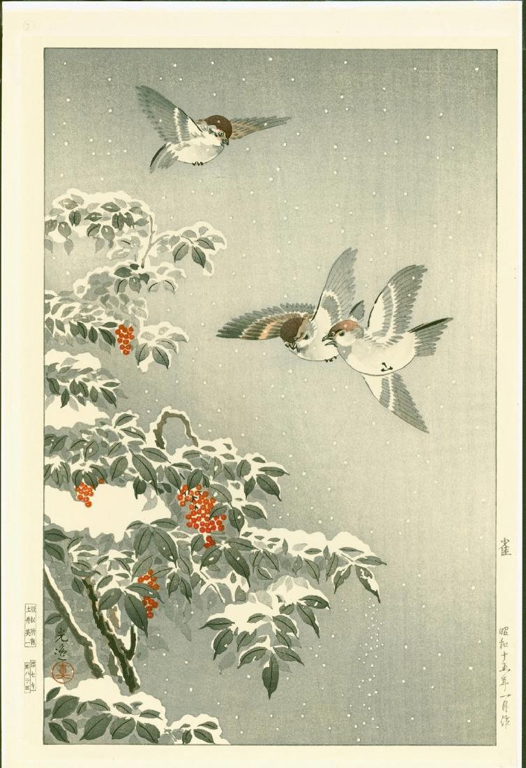 Tsuchiya Koitsu Woodblock Sparrows in Snow
