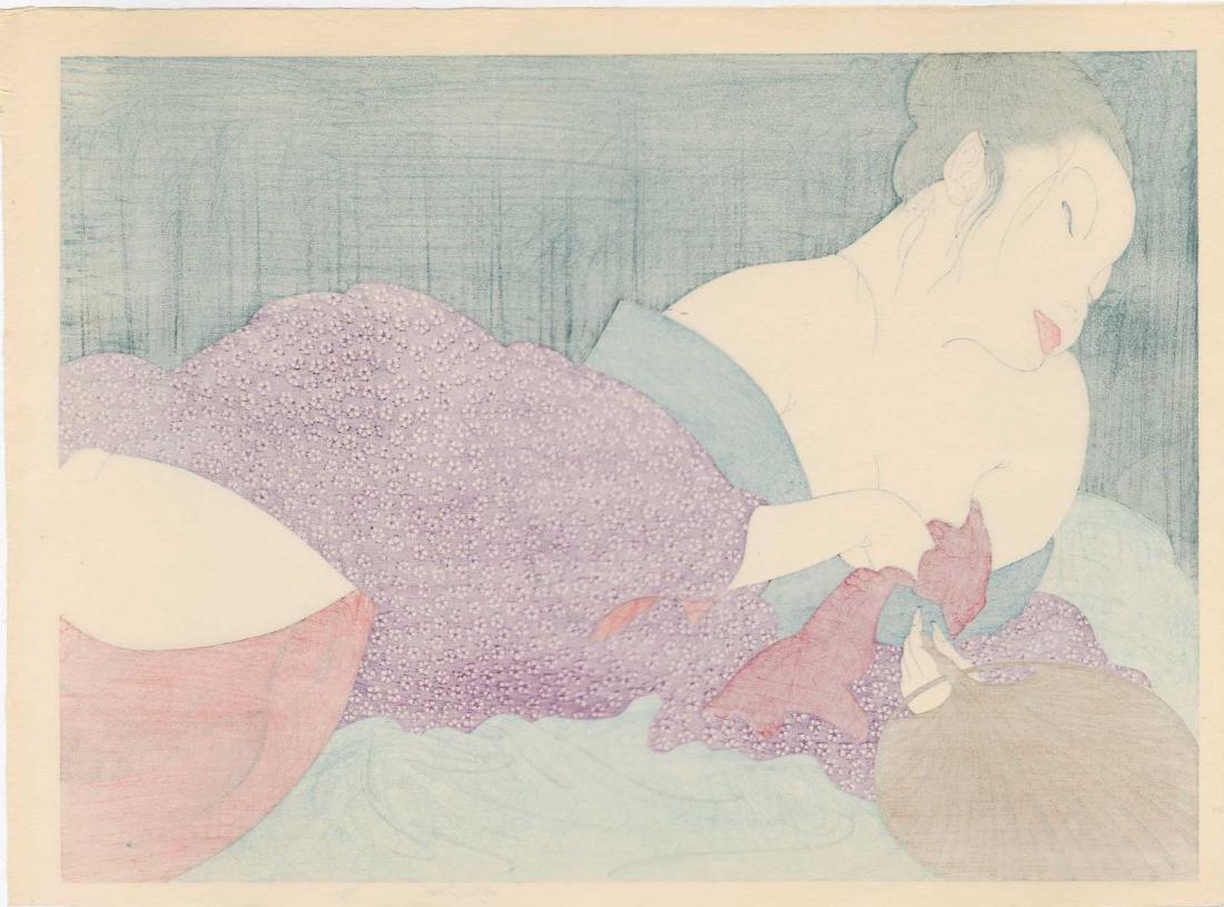 Yoshio Okada  Woodblock In the Bedroom - 2