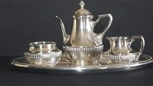 Antique Wolfers & Freres 935 Silver 3 Piece Tea Set
