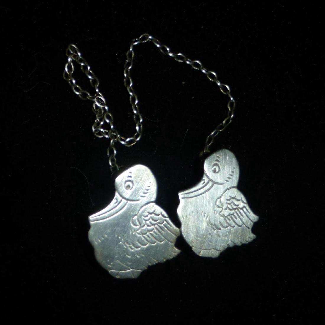 Vintage Webster Sterling Silver Baby Storks Bib Clips - 3