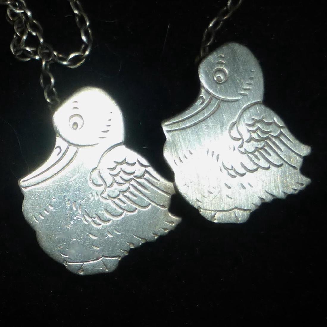 Vintage Webster Sterling Silver Baby Storks Bib Clips - 7