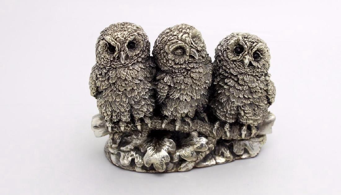 Rare Figural Sterling Silver Owl Family Figurine