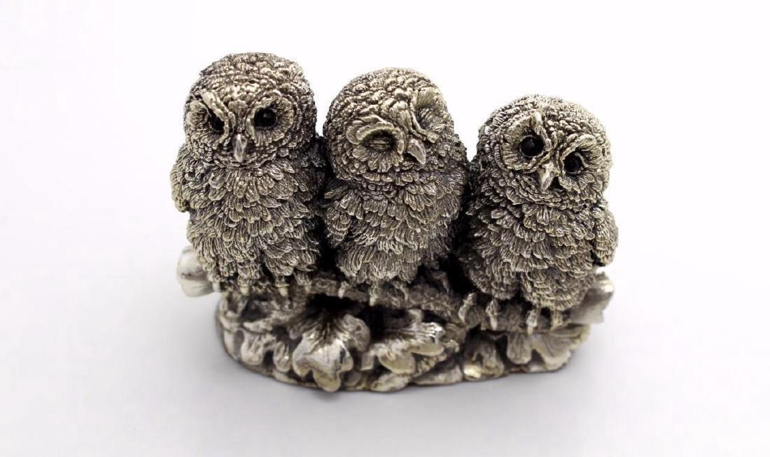 Rare Figural Sterling Silver Owl Family Figurine - 2