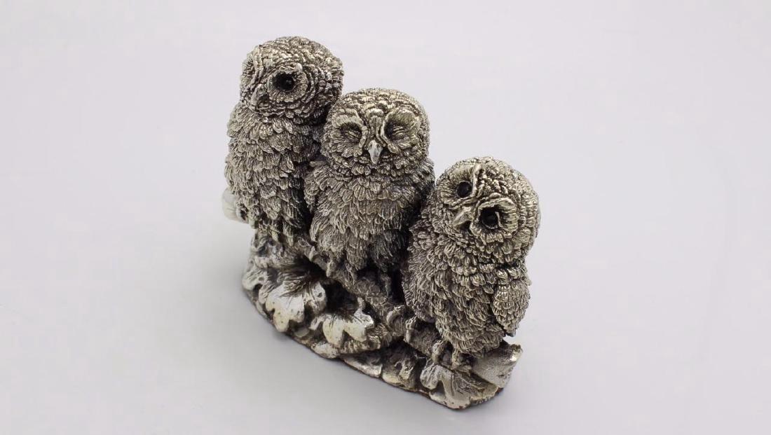Rare Figural Sterling Silver Owl Family Figurine - 3