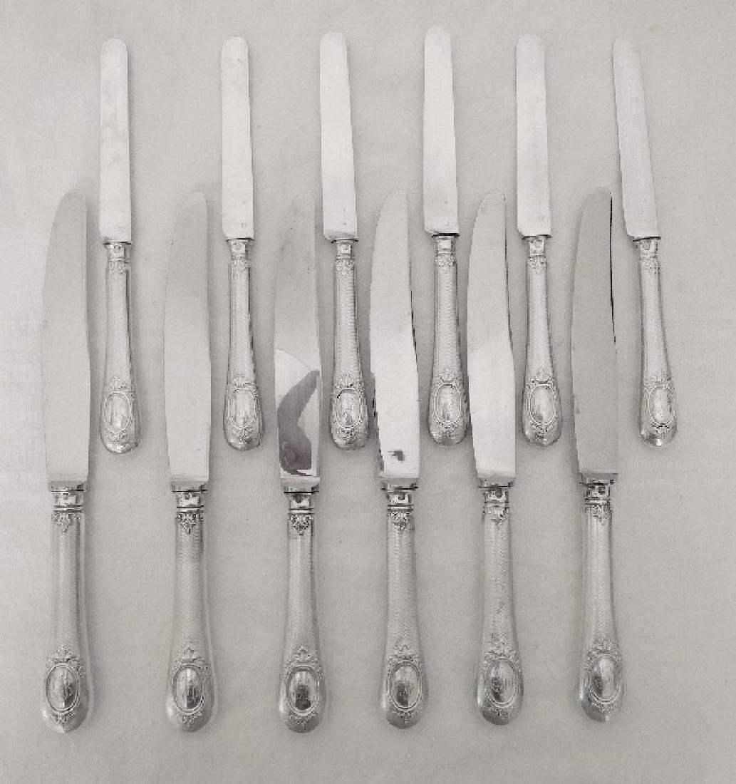 Antique French Henin & Cie Sterling Silver Knives Set - 5