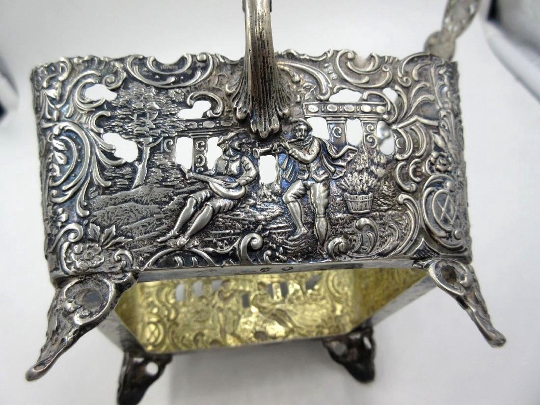 Antique German Hanau Silver Repousse Footed Basket - 10