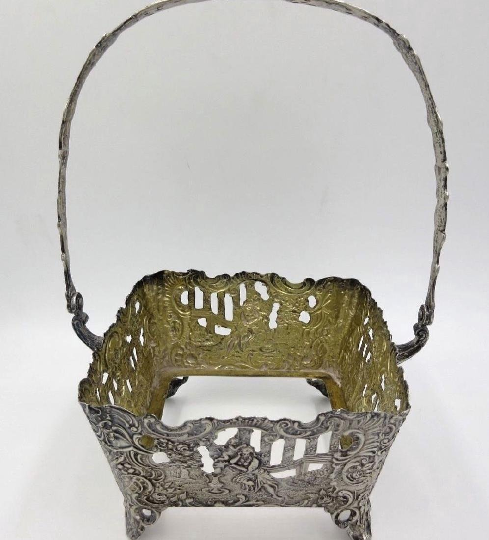 Antique German Hanau Silver Repousse Footed Basket