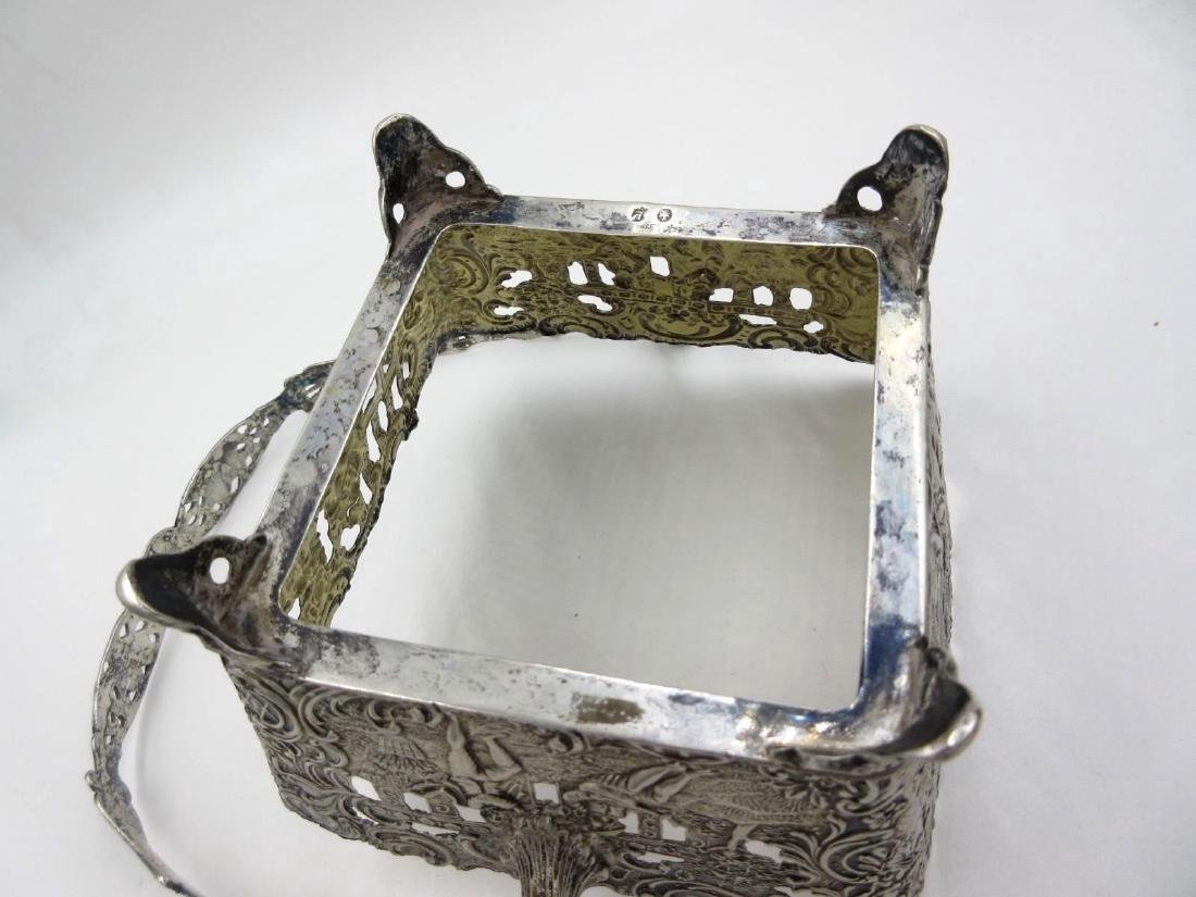 Antique German Hanau Silver Repousse Footed Basket - 9