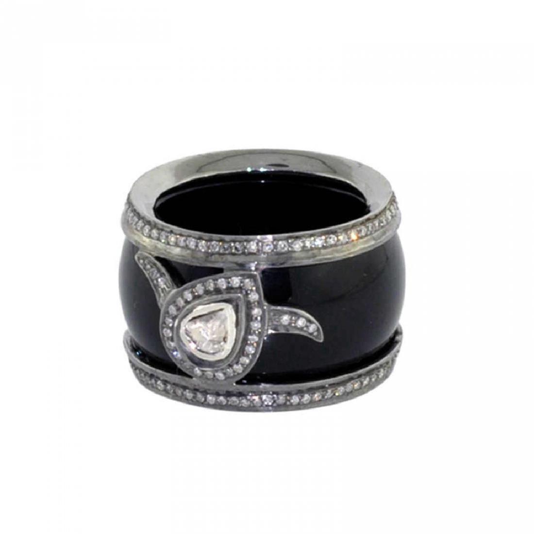 Sterling Silver Onyx Diamond Ring, 32.5ctw