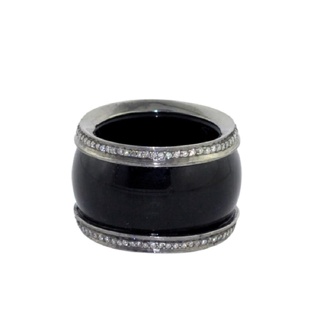 Sterling Silver Onyx Diamond Ring, 32.5ctw - 2