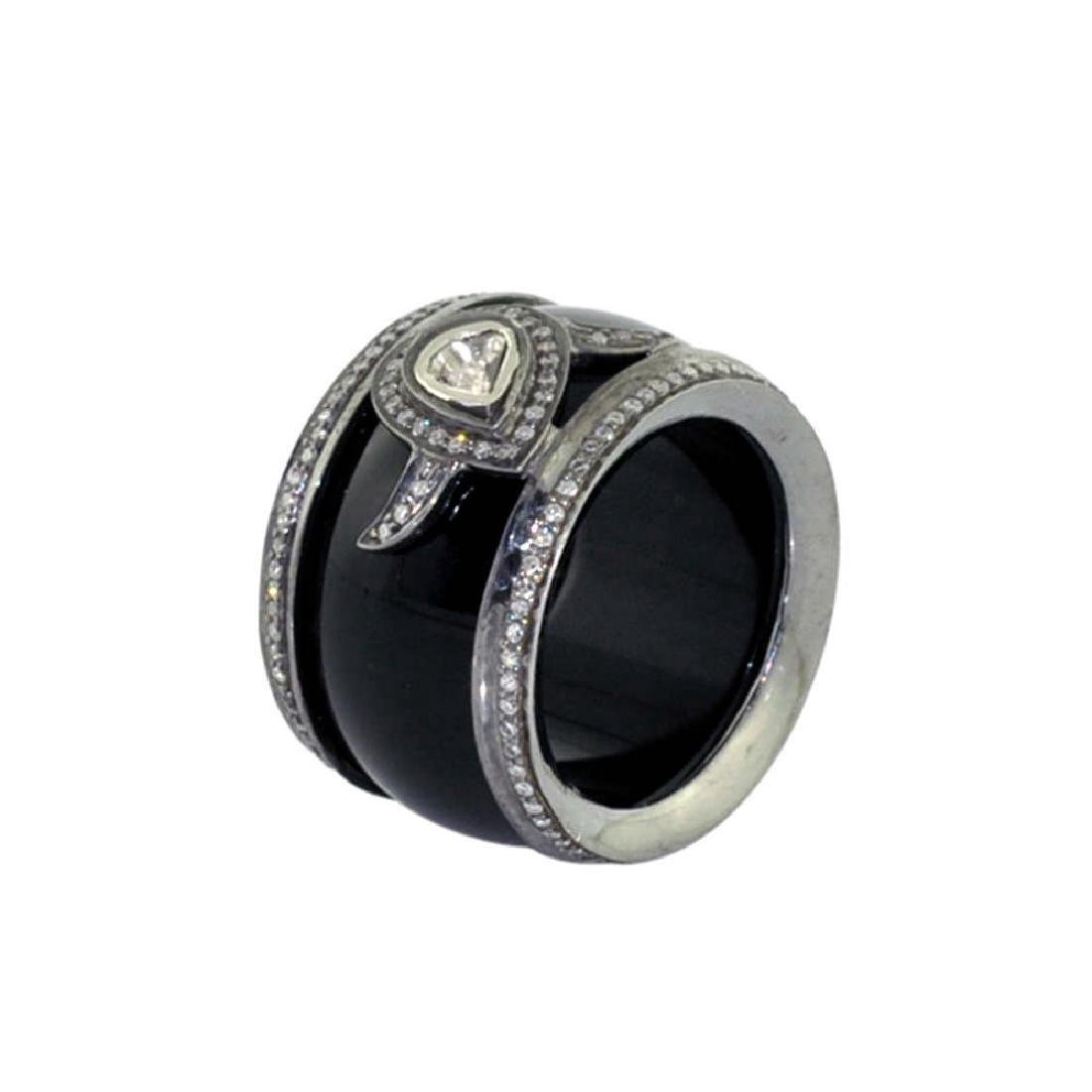 Sterling Silver Onyx Diamond Ring, 32.5ctw - 3