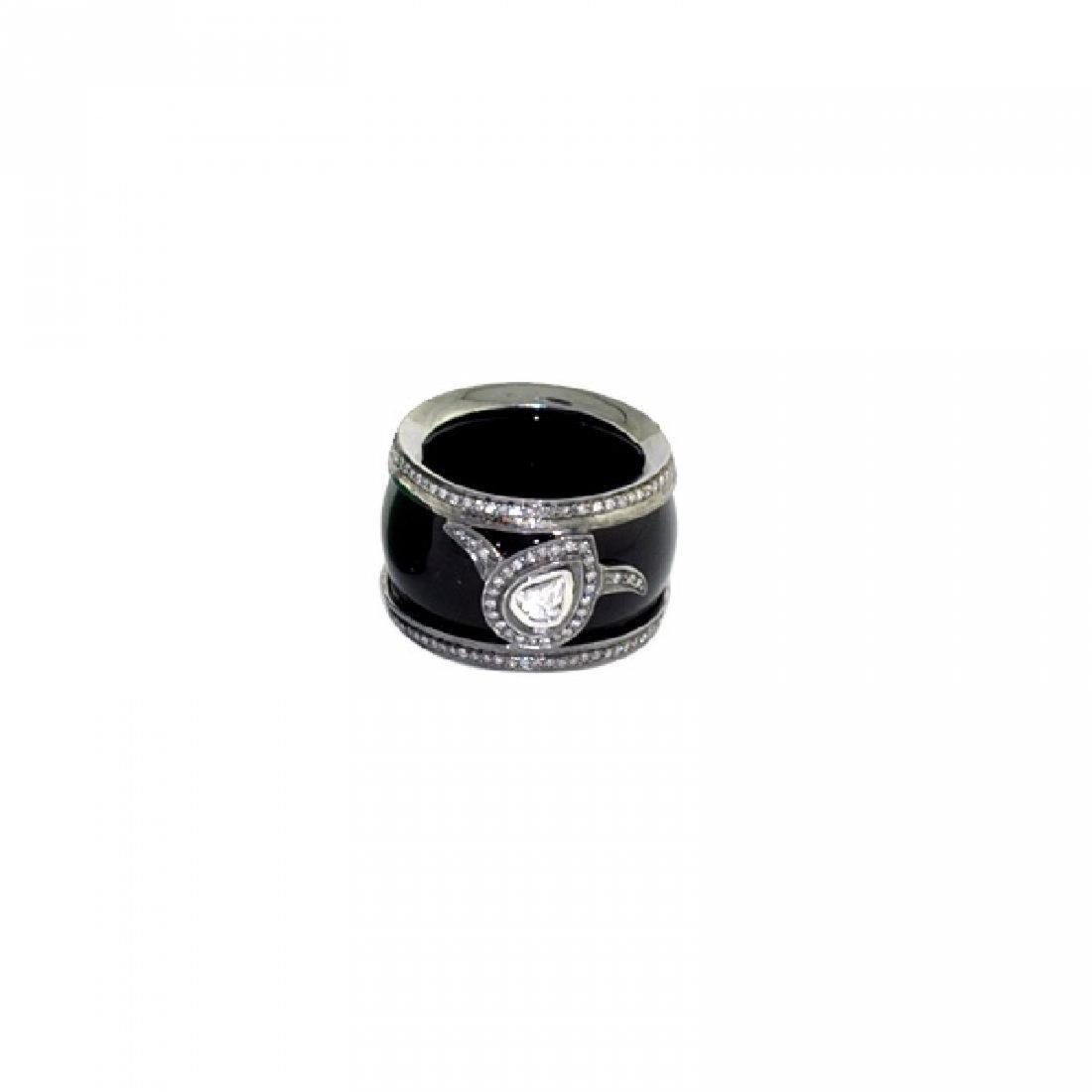 Sterling Silver Onyx Diamond Ring, 32.5ctw - 4