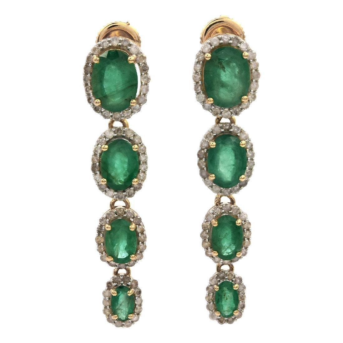 14K Gold 5.21ctw Emerald 1.0ctw Diamond Dangle Earrings
