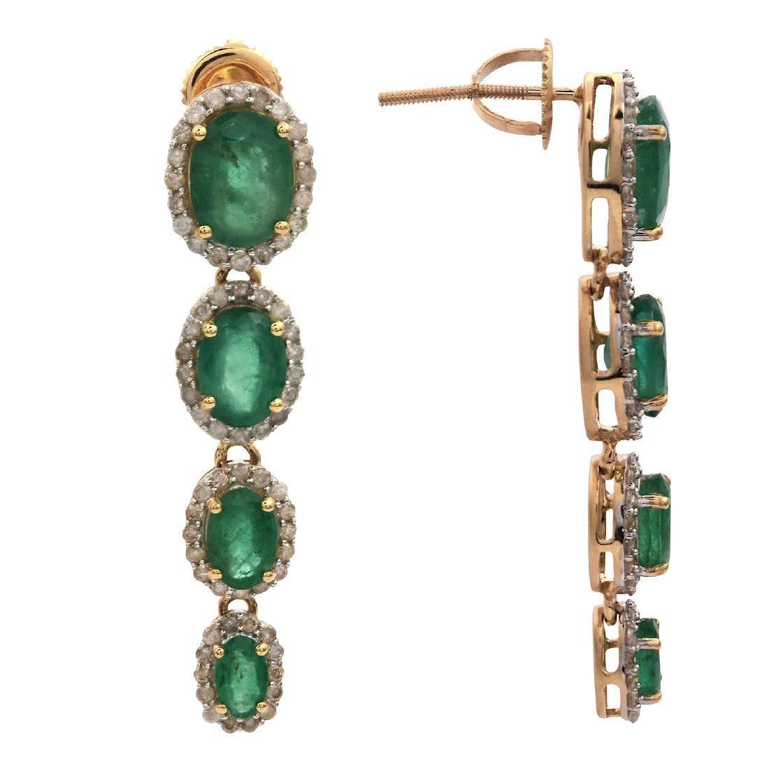 14K Gold 5.21ctw Emerald 1.0ctw Diamond Dangle Earrings - 2