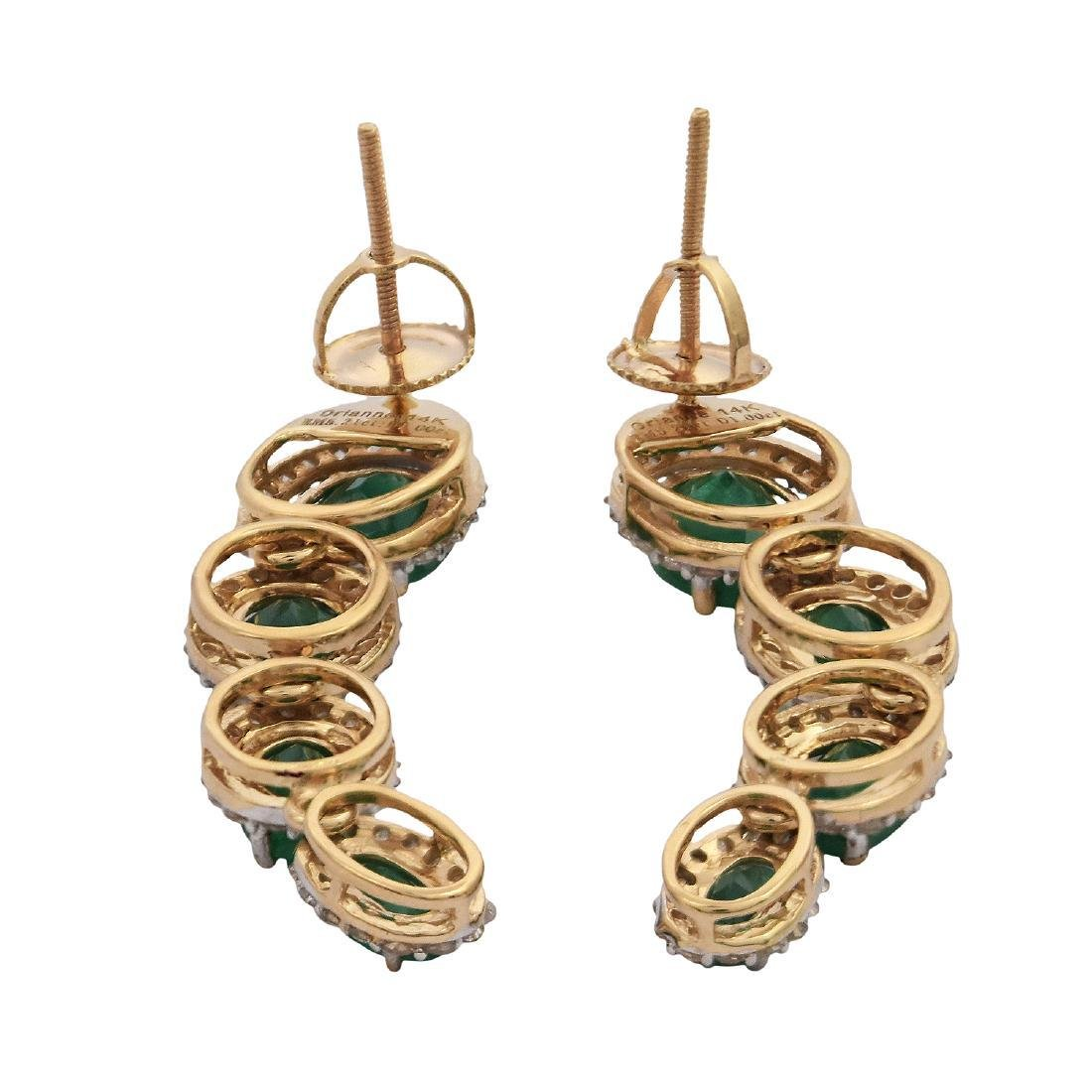 14K Gold 5.21ctw Emerald 1.0ctw Diamond Dangle Earrings - 3