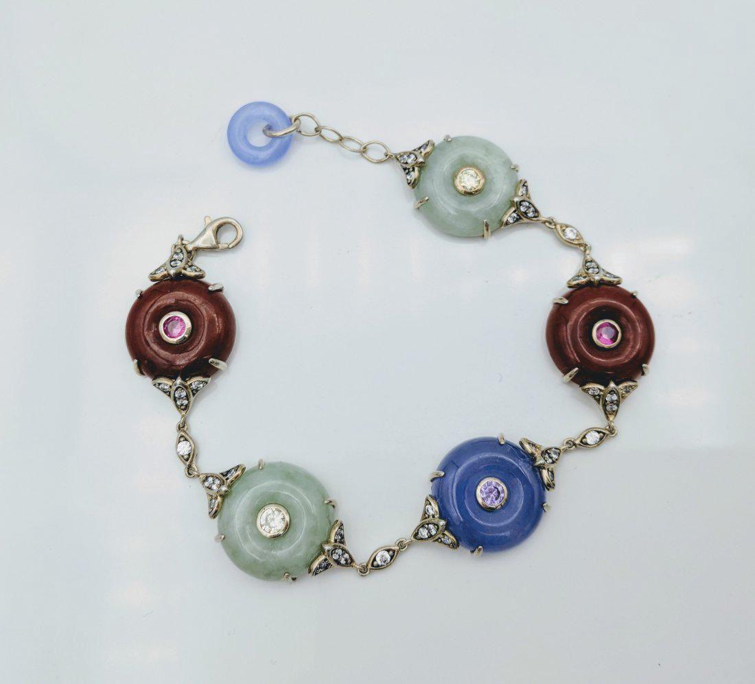 Sterling Silver Jasper Jade Amethyst CZ Bracelet