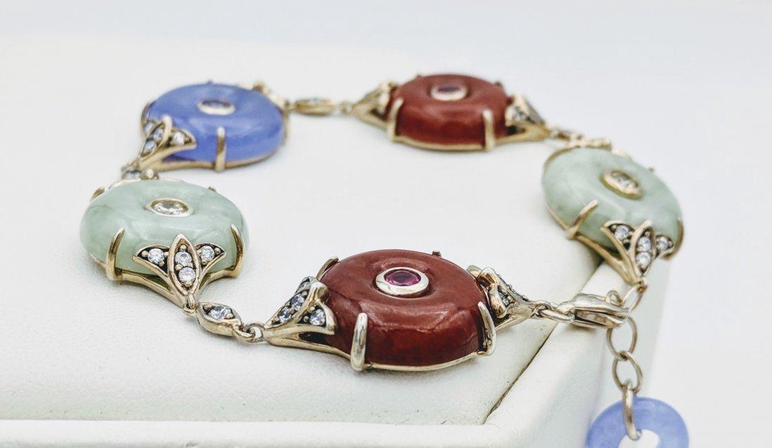Sterling Silver Jasper Jade Amethyst CZ Bracelet - 2