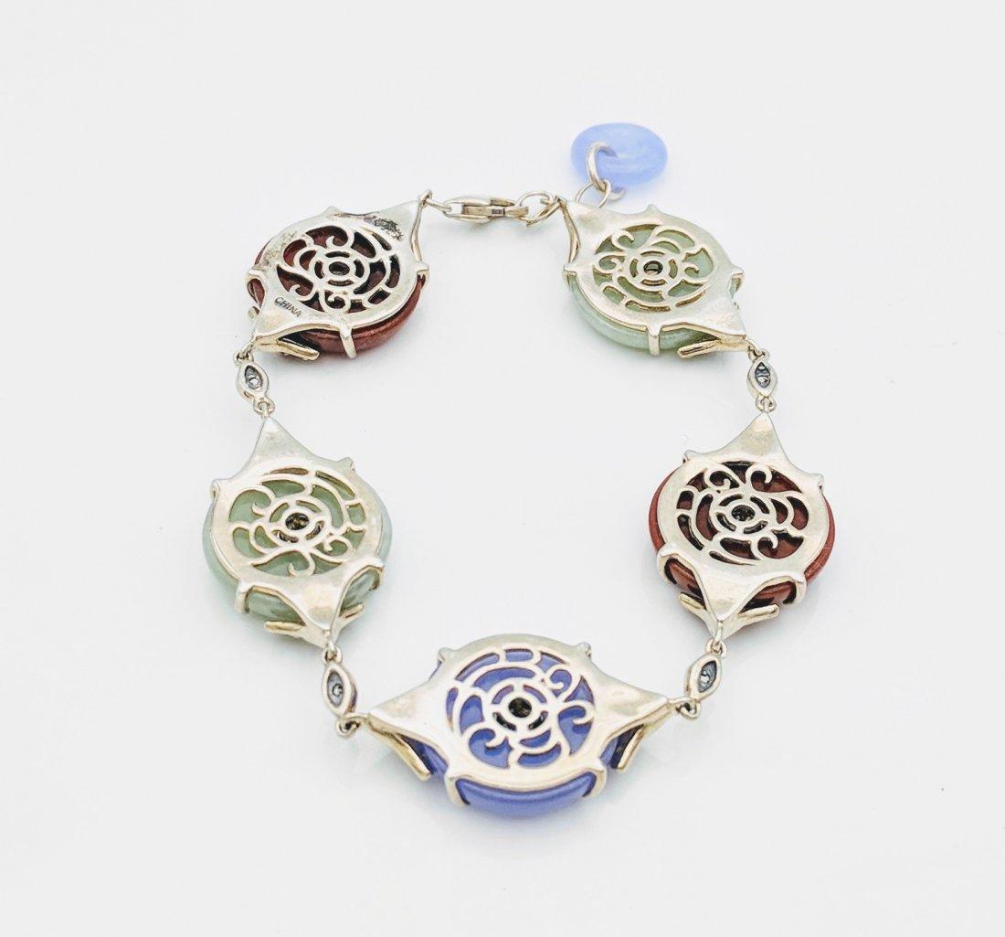 Sterling Silver Jasper Jade Amethyst CZ Bracelet - 3