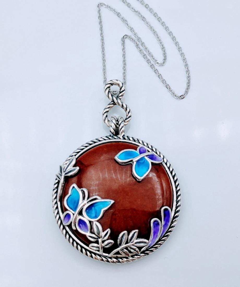 Sterling Silver Jasper Butterfly Pendant Necklace